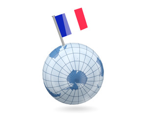 Globe with flag of mayotte