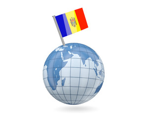 Globe with flag of moldova