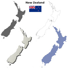 Blank detailed contour maps of New Zealand