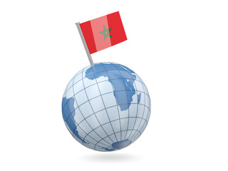 Globe with flag of morocco
