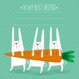 Fototapety Happy easter greeting card. Vector illustration with cute rabbit