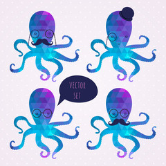 vector set with octopus. mustaches. hipster card