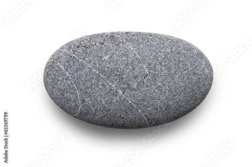 one single grey stone isolated on white