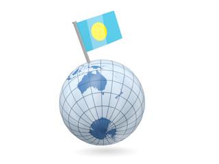 Globe with flag of palau