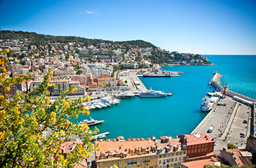Panoramic view of Nice harbour, France.