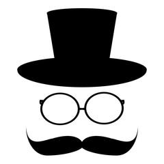 mustache, hat, glass
