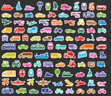 Fototapety Transport icons set colored stickers