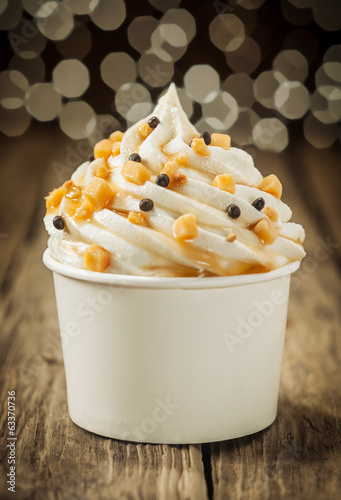 Decorative creamy party vanilla ice cream