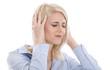 Junge Business Frau mit Migräne oder Kopfschmerzen