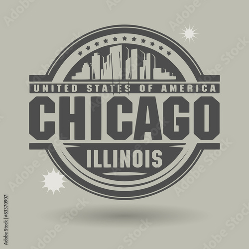 Stamp or label with text Chicago, Illinois inside, vector