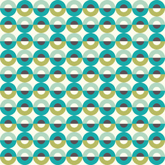 Circle seamless pattern in green tints. Vector illustration