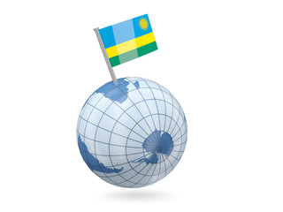 Globe with flag of rwanda
