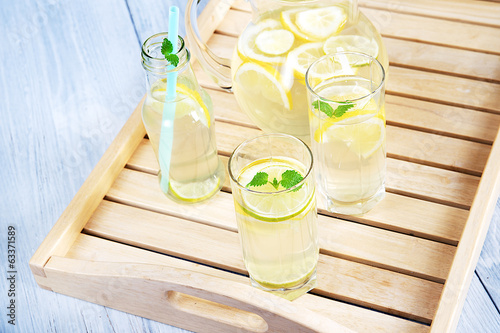 Glasses of fresh lemonade