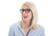 Lachende junge Auszubildende mit Brille