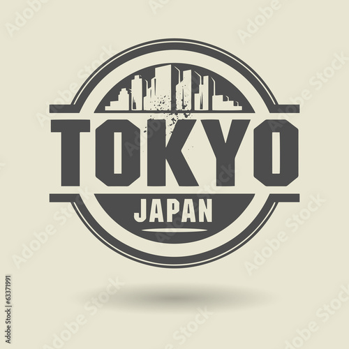 Stamp or label with text Tokyo, Japan inside, vector