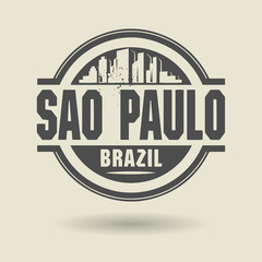 Stamp or label with text Sao Paulo, Brazil inside, vector