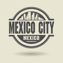 Stamp or label with text Mexico City, Mexico inside