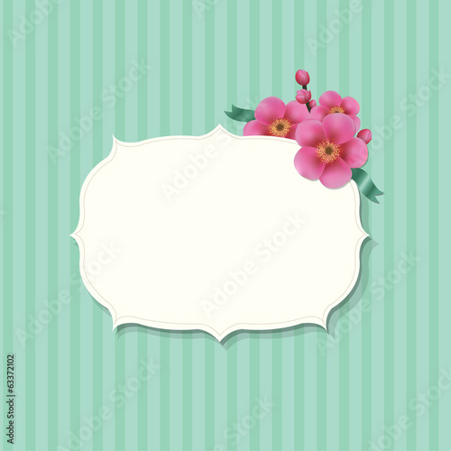 Vintage Label With Sakura Flowers