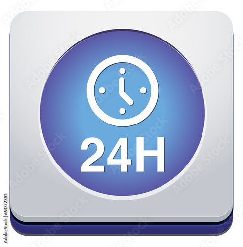 24 hours a day icon isolated on white background