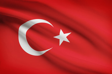 Series of ruffled flags. Republic of Turkey.