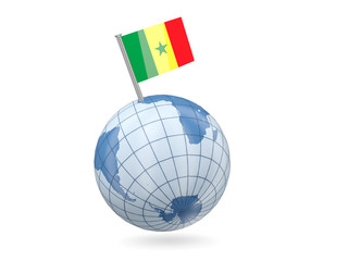 Globe with flag of senegal