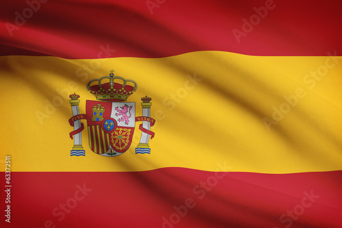 Series of ruffled flags. Kingdom of Spain.