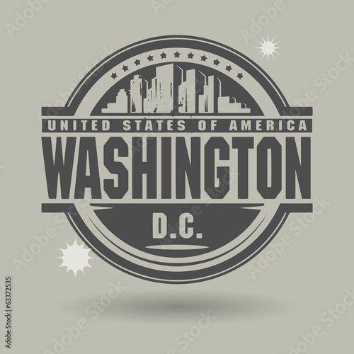 Stamp or label with text Washington, District of Columbia inside