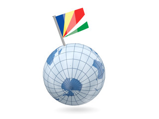 Globe with flag of seychelles