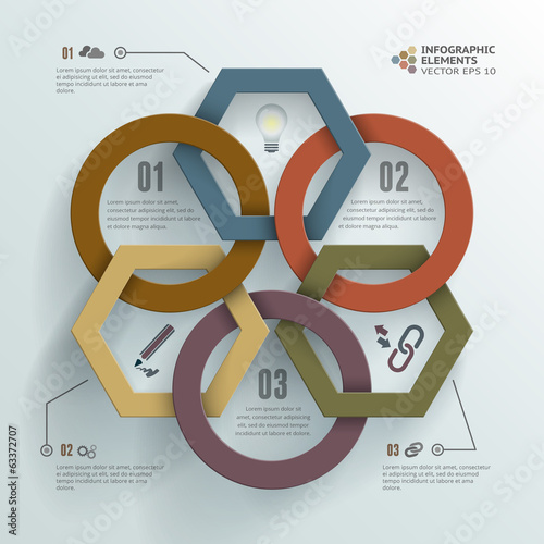 Linked Circles and Polygons Infographic Background