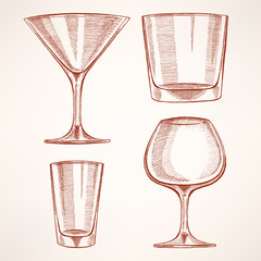four hand-drawn alcohol glasses