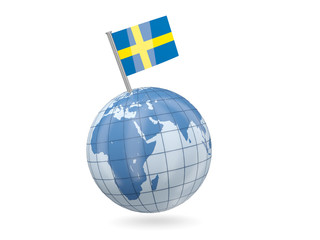 Globe with flag of sweden