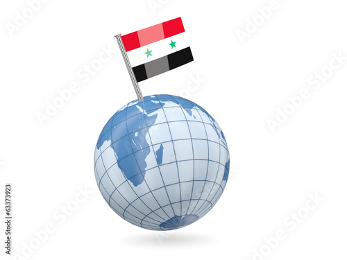Globe with flag of syria