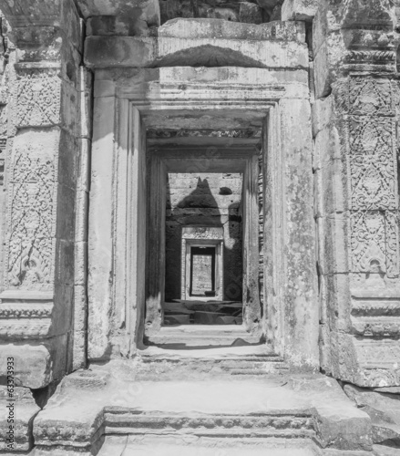 Doorways and corridor in temple ruins, Angkor Wat, Cambodia