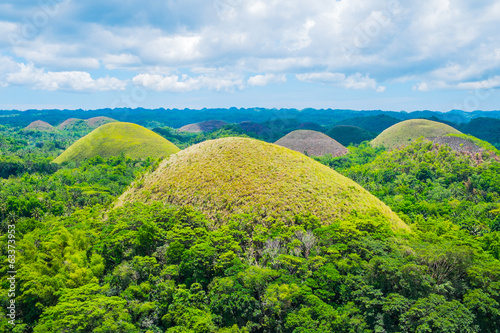 Famous Chocolate Hills natural landmark in Philippines