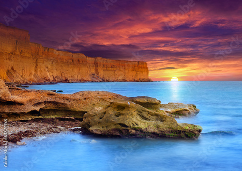 Beautiful summer seascape under dramatic sky.