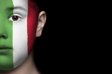 Human face painted with flag of Italy