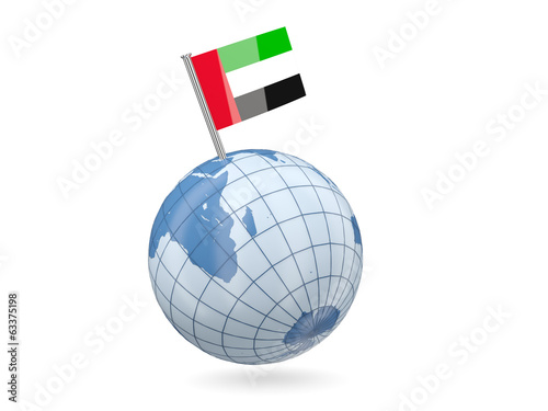 Globe with flag of united arab emirates