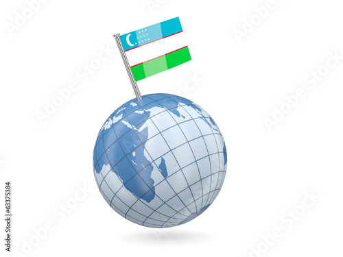 Globe with flag of uzbekistan