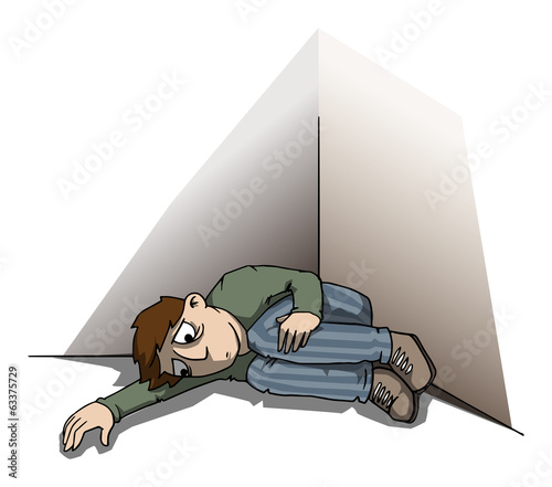 Depressed man, laying in a corner, concept