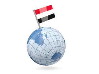 Globe with flag of yemen