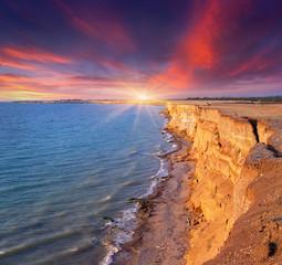 Beautiful summer seascape under dramatic sky.