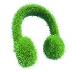 green grass headphones. fresh music.