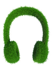 green grass headphones. fresh music.