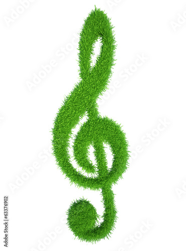 green grass key symbol, fresh music clef