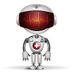 Robot Doctor with stethoscope. Screen indicator show cardiogram