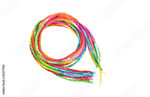 Colorful rope on white background