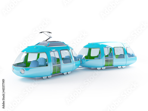 blue cartoon tram two wagon