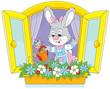 Easter Bunny watering window flowers