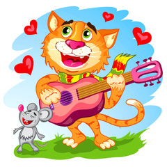 Illustration of the funny singing cat with guitar