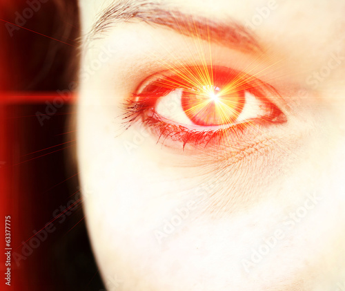 canvas print picture Red eye laser